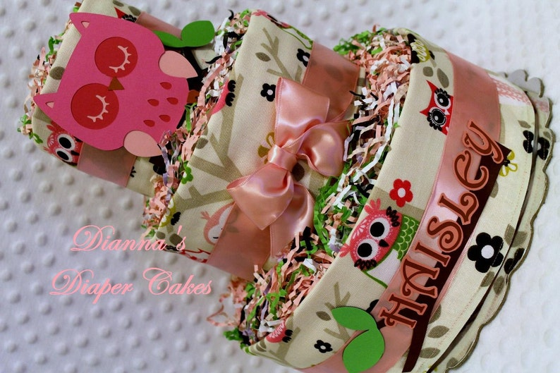 Pink Owl Baby Diaper Cake Shower Gift or Centerpiece
