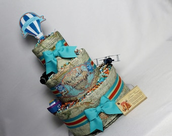 Baby Diaper Cake Maps Travel Shower Centerpiece SELECT GENDER and RIBBON Gift Boys Girls Neutral