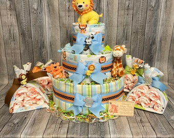 Zoo Animals Baby Diaper Cake and 4 Stork Bundles Shower Gift Centerpieces