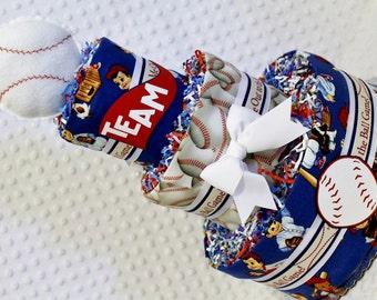 Baseball Baby Diaper Cake Shower Gift or Centerpiece