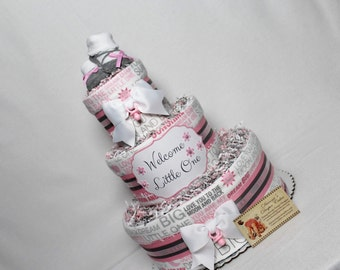 Baby Diaper Cake PINK OR BLUE Shower Centerpiece Love you to the Moon
