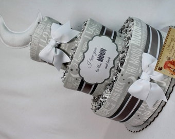 Baby Diaper Cake Love You to the Moon and Back GENDER and COLOR OPTIONS Shower Gift Centerpiece Boys Girls Neutral