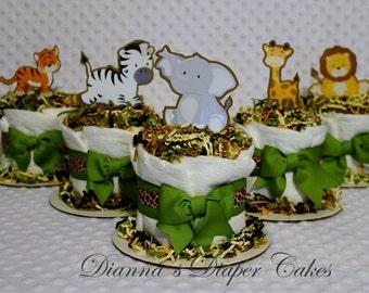 5 Mini Baby Diaper Cakes Jungle Zoo Animals Shower Centerpieces