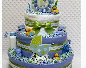 Baby Diaper Cake Shower Centerpieces Boys Blue