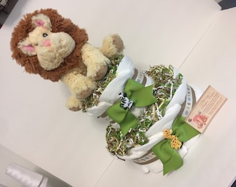 Lion Baby Diaper Cake FREE SHIPPING Zoo Animals 2 Tier Shower  Centerpiece