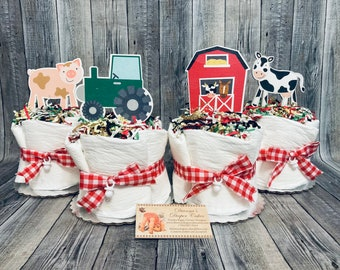 Country Farm ALREADY MADE Baby Diaper Cakes Minis Set of 4 Shower Gifts or Centerpieces