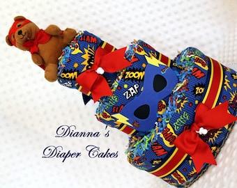 Superhero Baby Diaper Cake Shower Gift Centerpiece Boys Bear Super Heroes