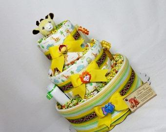 Zoo Animals Baby Diaper Cake Jungle Safari SELECT FABRIC Shower Centerpiece Gift