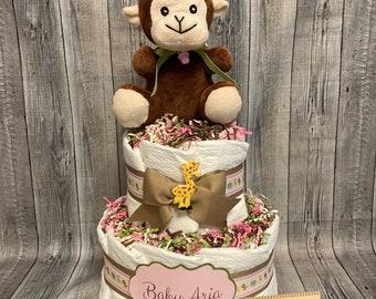 Baby Diaper Cake FREE SHIPPING Zoo Animals Jungle Monkey 2 Tier Shower  Centerpiece