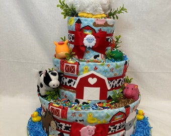 Baby Diaper Cake Farm Animals CUSTOM ORDER for CarrieO Shower Centerpiece