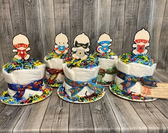 Superhero Babies SELECT SKIN TONE Baby Diaper Cakes Set of 5 Shower Gift Centerpieces