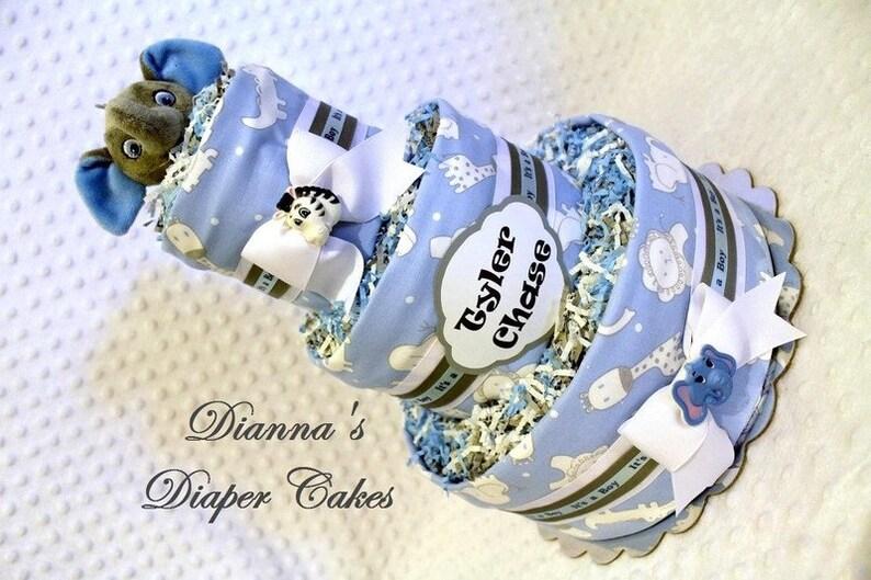 Zoo Animals Baby Diaper Cake Shower Gift Centerpiece Boys Gray Blue