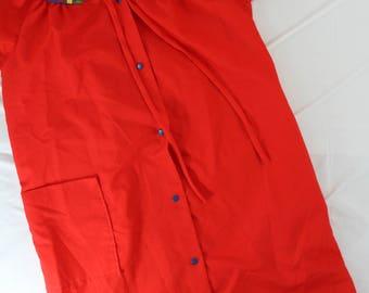 c14c376ca1 Vintage Dan Ellen Sz Small House Dress robe red snap front knee length