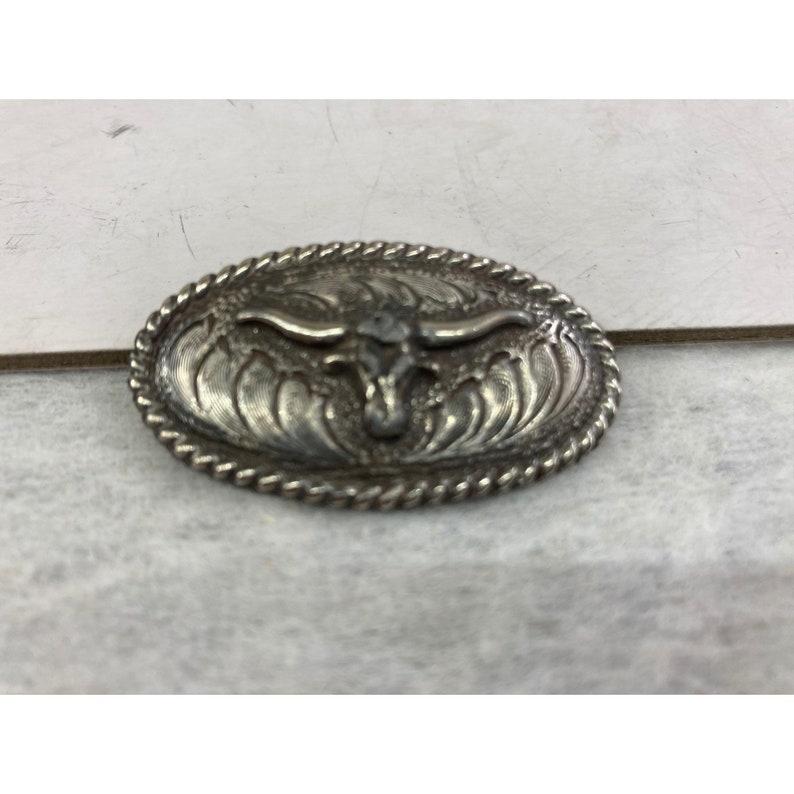 Silver metal long horn belt buckle child size
