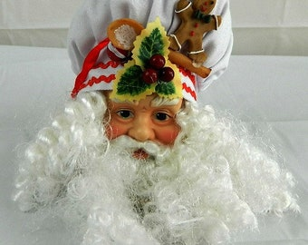 Christmas Chef Santa Head Ornament Craft Supply