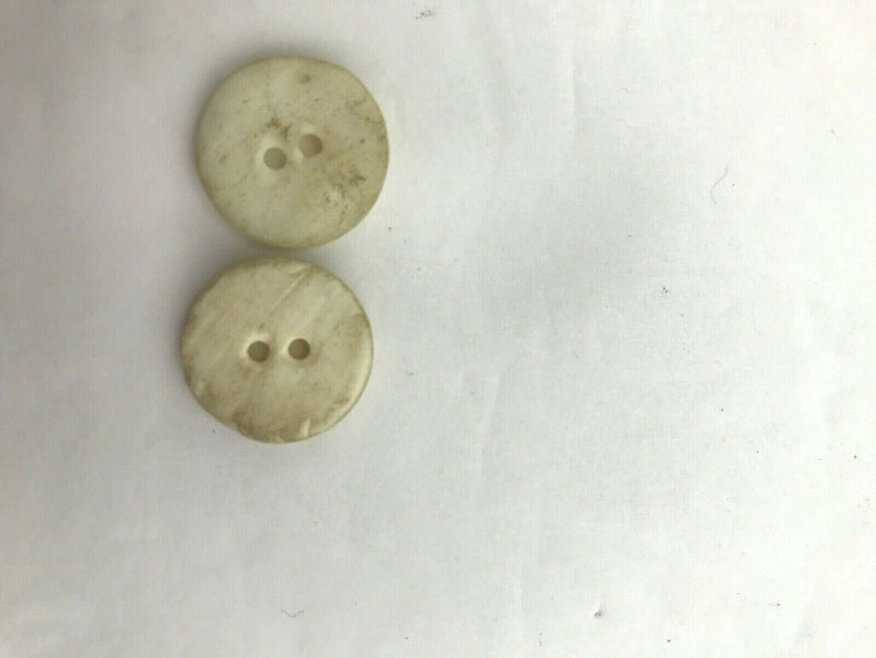 Set of 2 vintage white buttons