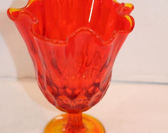 Flame Red and Orange Glass dish with stand serving decorative
