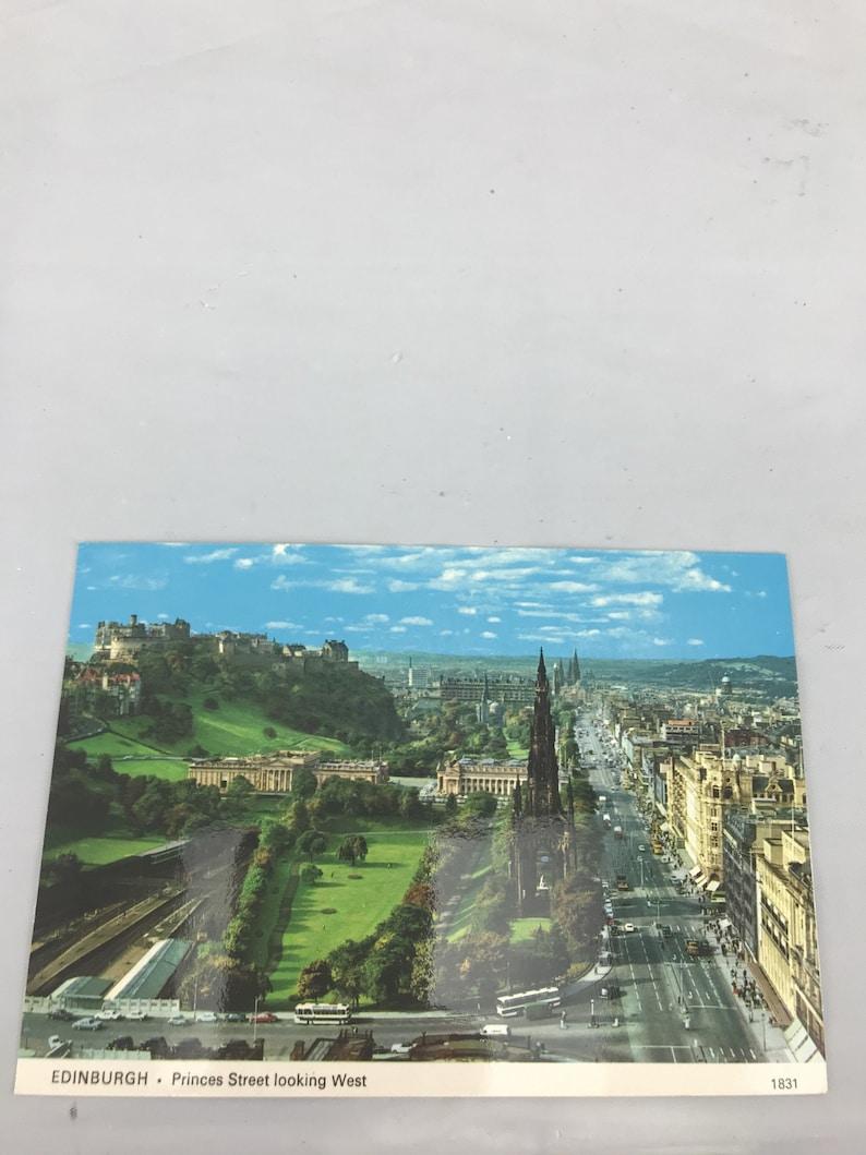 Vintage Edinburgh Princes Street looking west postcard ephemera collectible