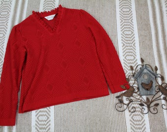 Vintage Frances Verti Womens see thru lace blouse sz small red