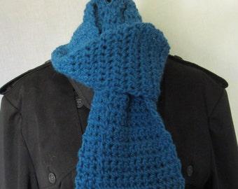 Blue Alpaca Wool Scarf, Man, Womans, 70 inch, Long, Woolen, Thick Yarn, Warm, Wrap, Spring, Crochet knit, Chunky, Fashion, Vintage Look