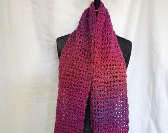 Womans Pink Scarf, Oversize, 81 x 6, Extra Long, Chunky Thick, Handmade Crochet knit, Soft, Birthday, Easter, Springtime, Bohemian