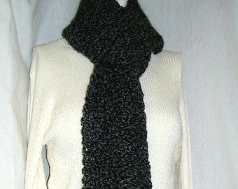 Black Scarf, Extra Long, 115 Inches, Goth, Oversize, Chunky, Mans, Womans, Sherlock, Bohemian, Cowl, Crochet, Neckscarf, Steampunk, Handmade