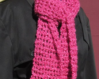 Womans Pink Scarf Extra Long 90 x 6.5 inches Oversize Chunky Thick Yarn Springtime Handmade Crochet knit Warm Birthday Gift Unique Trendy