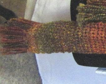 Extra Long Scarf, 102x5 Inches, Chunky, Wrap, Steampunk, Bohemian, Red, Brown, Neckscarf, Trending, Crochet, New, Handmade, Retro, Sherlock