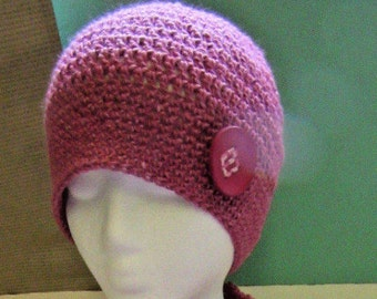 Womans orchid Pink Silk Hat Wool Alpaca Cloche Cap Button Natural Organic Beanie Chic Handmade Crochet knit Mothers Day New Spring