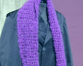 Purple Wool Scarf 120 x 7 inches Extra Long Oversize Handmade Crochet knit Mans Womans Unique Birthday Gift Summer Trending Organic Violet