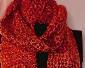 Wild Fire Red Scarf Extra Long 98x5 Inches Mans Womans Multi Color Wrap Crochet knit Neckscarf Unique Gift Cowl Oversize New Spring