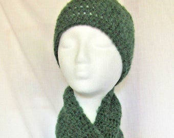 Green Hat and Scarf SET 104x7 inches Extra Long Oversize Mans Womans Warm Handmade Crochet Knit Irish Beanie Cap Soft Unique Birthday Gift