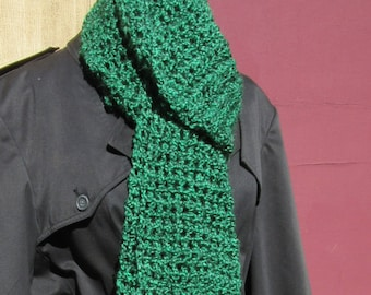 Mans Womans Irish Green Scarf Oversize 100x5 inch Extra Long Unique Fathers Dat Gift Chunky Thick Super Bohemian Crochet Knit Handmade Boho
