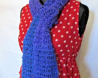 Blues Scarf 90x6 Inches Extra Long Oversize Cowl Chunky Goth Boho Handmade Crochet knit Mans Womans Spring Unique Birthday Gift