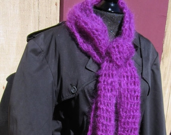 Purple Mohair Wool Scaf 112x6 Inches Extra Long Oversize Handmade Crochet knit Mans Womans Unique Gift Organic Soft Fluffy Stylish Fashion