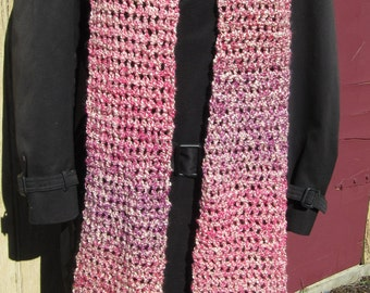 Womans Extra Long Pink Scarf, 90 x 6 Inches Over 6 feet Neckscarf Soft Super Oversize Crochet Trending Chunky Unique Birthday Gift