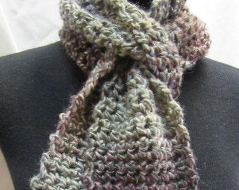 Gray Wool Scarf, 64 x 5, Multi Color, Bohemian, Springtime, Short, Chunky, Oversize, Thick Yarn, Crochet, Handmade, Mans, Womans, Neckscarf