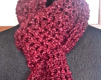 Dark Red Scarf 98x5 inches Extra Long Mans Womans Oversize Super Chunky Wrap Handmade Crochet knit Birthday Gift Neckscarf Bordeaux NEW