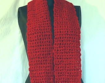 Cherry Red Scarf, 134x7 inches, Extra Extra Long, Wide, Handmade Crochet knit, Mans, Womans, Springtime, Gift, Runway Fashion Trending