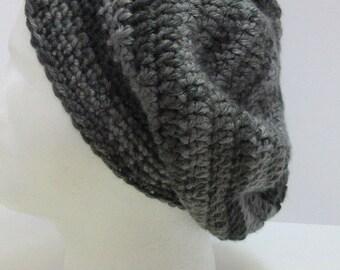 Mans Gray Striped Slouchy Hat Oversize Cap Tam Newsie Beret Crochet knit Soft Warm Large Beanie Handmade Womans Big Hair Emo Goth Spring