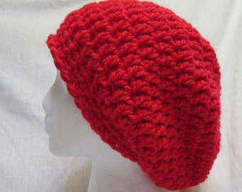 Red Slouchy Hat Oversize Big Cap Beanie Unique Birthday Gift Trending Dreadlocks Chunky Thick Yarn Bohemian Crochet knit Handmade Large New
