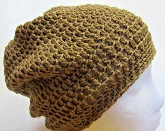 Brown Slouchy Hat Big Hair Head Cap Oversize Dreadlocks Mans Womans Steampunk Handmade Crochet knit Retro Metro Metrosexual Spring