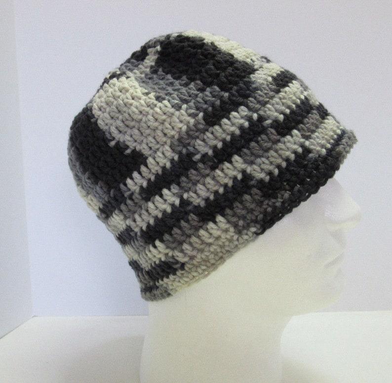 61e6b5926be Gray Black Beanie Skull Cap Oversize Hat Handmade Crochet Knit