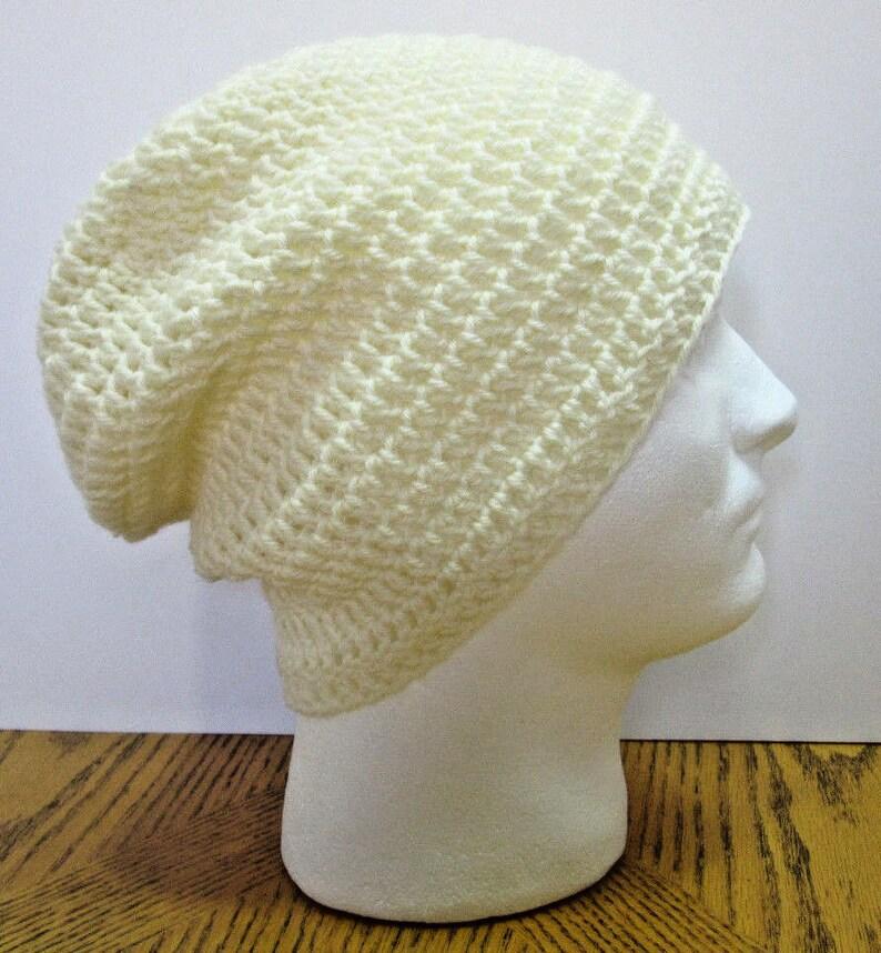 57b8ed70446 White Wool Slouchy Hat Beanie Organic Easter Cap Large