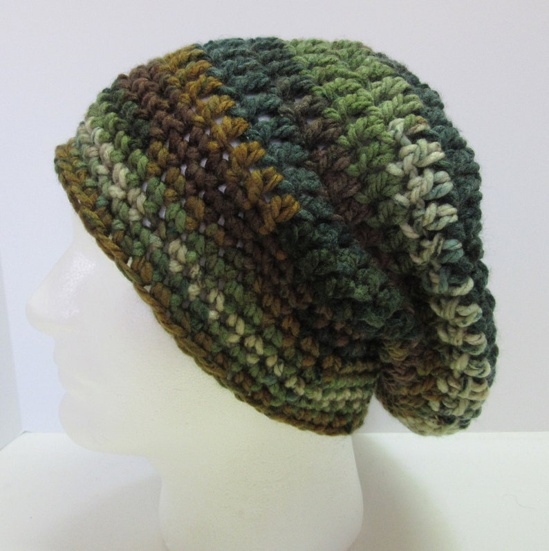 922be46a4 Green Brown Slouchy Hat Oversize Big Cap Striped Beanie Mens Womens Teens  Birthday Gift Chunky Thick Boho Crochet Handmade Large Size Head