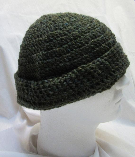 abcab40ee12 Green Wool Cap Mans Large Oversize Hat Handmade Crochet Beanie