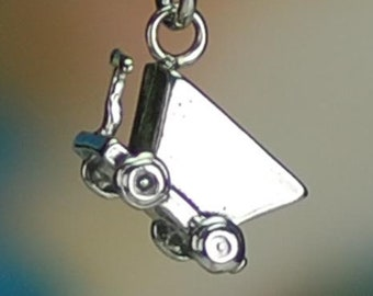 Coal Miner Mine Ore Cart Mining 3D .925 Solid Sterling Silver Charm Minecart