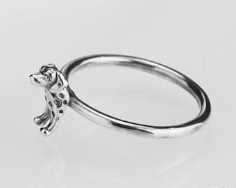 Solid 925 Sterling Silver Ring Natural Copper Dalmation Unique Jewelry Size 10