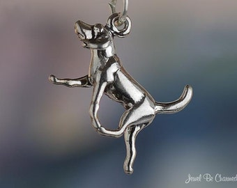 Sterling Silver Charm Bracelet With Attached 3D Small Great Dane With Tail Down Pet Dog Breed Charm