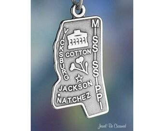 Vicksburg Enamel Charm Road Trip Charm Natchez Jackson Enamel Mississippi State Charm Green and Silver